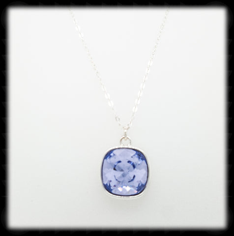 #CD39N- Cushion Cut Necklace- Lavender Silver