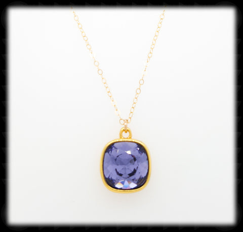 #CD53NG- Cushion Cut Necklace-Tanzanite Gold