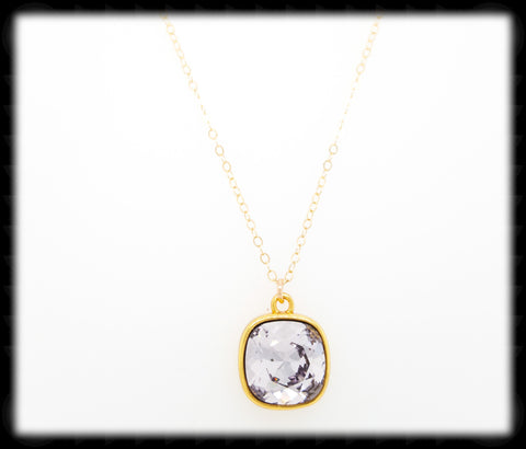 #CD41NG- Cushion Cut Necklace- Smokey Mauve Gold