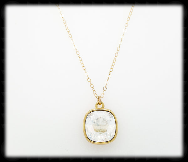 #CD25NG- Cushion Cut Necklace- Moonlight Gold