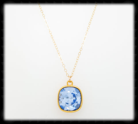 #CD48NG- Cushion Cut Necklace- Light Sapphire Gold
