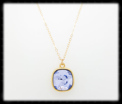#CD39NG- Cushion Cut Necklace- Lavender Gold