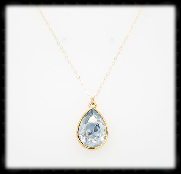 #BCDT1641GN- Cushion Teardrop Necklace- Blue Shade Gold