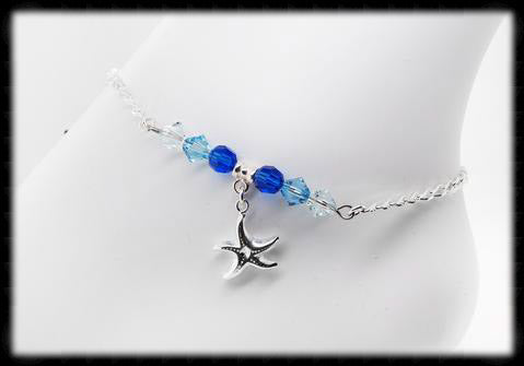 #ANK12- Ocean Blue Sterling Anklet- Starfish