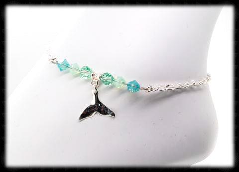 #ANK11- Sea Greens Sterling Anklet- Whale Tail