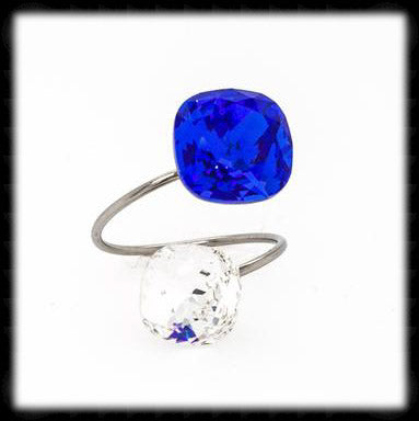 #R9916- Sparkling 2 Tone Ring- Majestic Blue Sparkling Clear