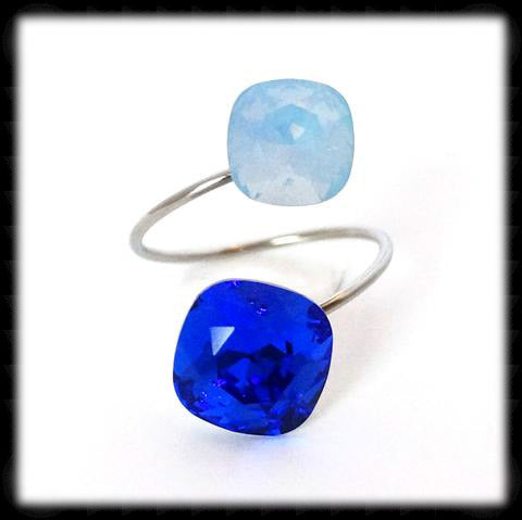 #R9963- Sparkling 2 Tone Ring- Majestic Air Blue