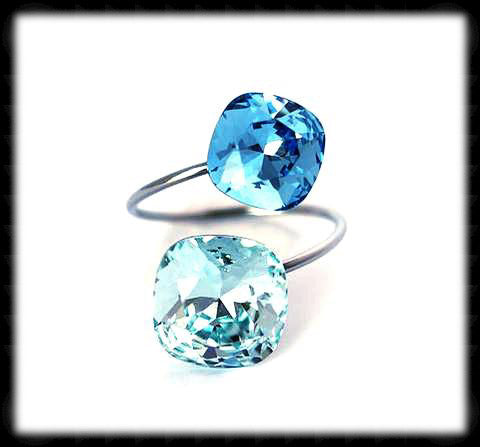 #R991- Sparkling 2 Tone Ring- Light Turquoise Aqua