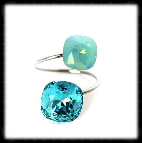#R99312- Sparkling 2 Tone Ring- Light Turquoise Pacific Opal
