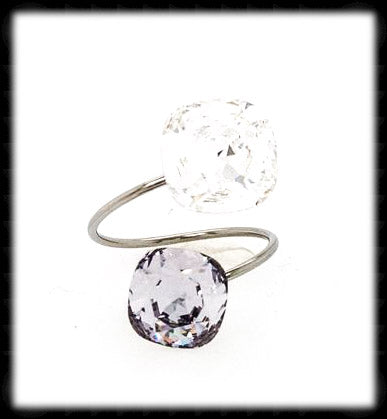 #R9971- Sparkling 2 Tone Ring- Clear Smokey Mauve