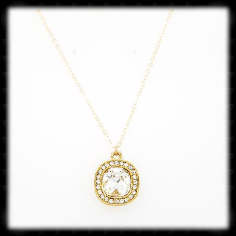 #CDCZ5- Sparkling Cz Cushion Necklace- Clear Gold