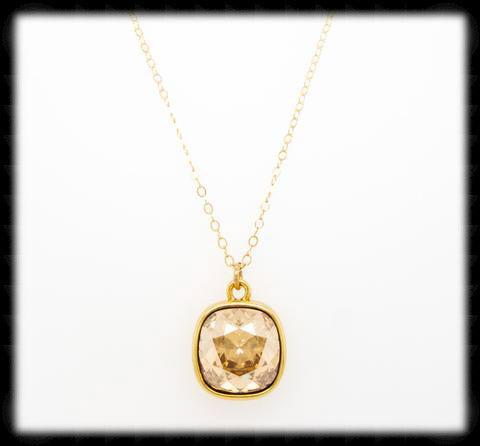#CD61N- Cushion Cut Necklace- Golden Shadow Gold