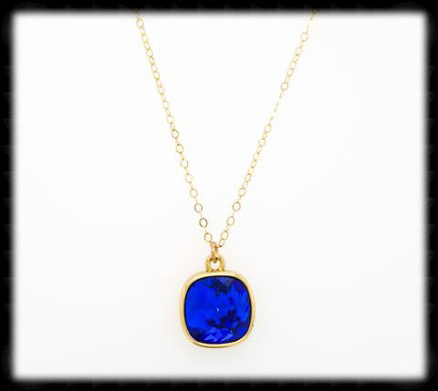 #CD47NG- Cushion Cut Necklace- Sapphire Gold