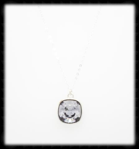 #CD41N- Cushion Cut Necklace- Smokey Mauve Silver