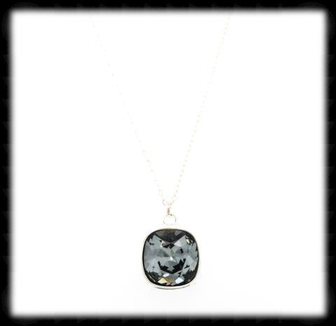 #CD34N- Cushion Cut Necklace- Silver Night Silver