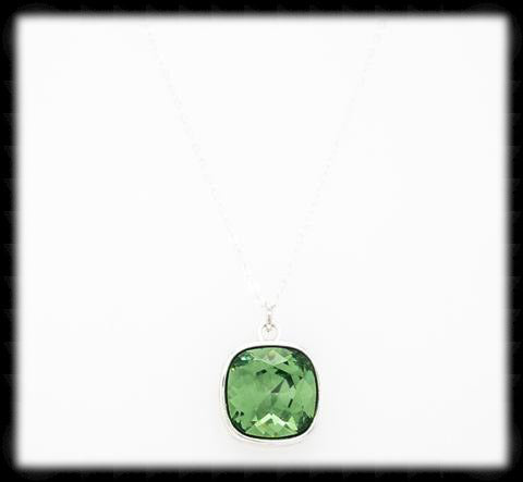 #CD23N- Cushion Cut Necklace- Erinite Silver