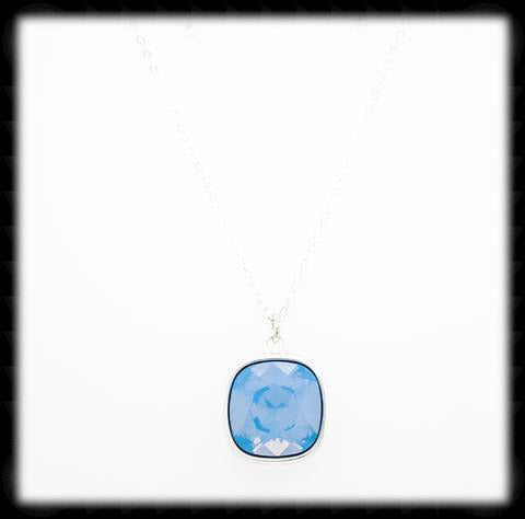 #CD22N- Cushion Cut Necklace- Blue Opal Silver