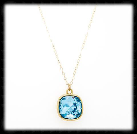 #CD21NG- Cushion Cut Necklace- Aqua Gold