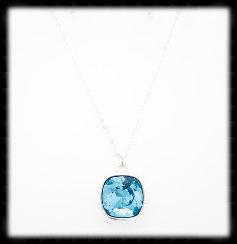 #CD21N- Cushion Cut Necklace- Aqua Silver