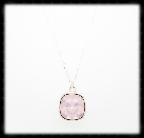 #CD14N- Cushion Cut Necklace- Rose Opal Silver
