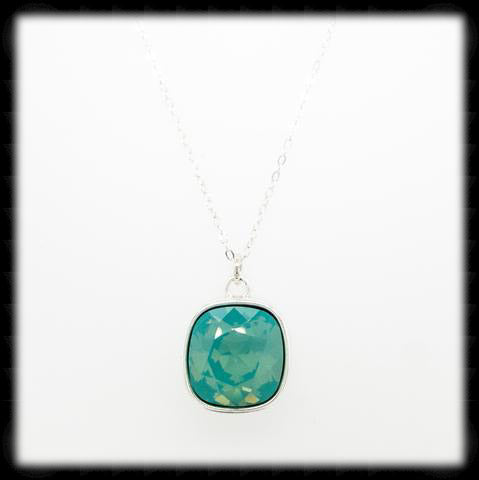 #CD13N- Cushion Cut Necklace- Pacific Opal Silver