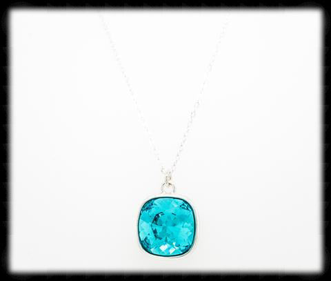 #CD12N- Cushion Cut Necklace- Light Turquoise Silver