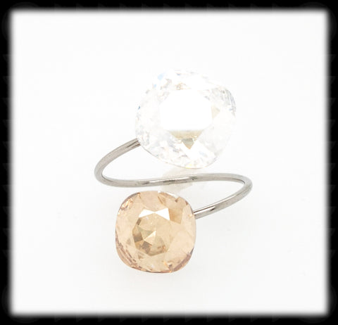 #R99- Sparkling 2 Tone Ring- Moonlight Golden