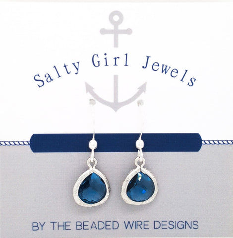 #AAFTP41- Petite Framed Teardrop Earrings- Navy Silver