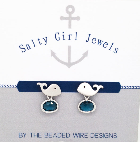 #SD82- Whale Drop Stud- Navy Silver