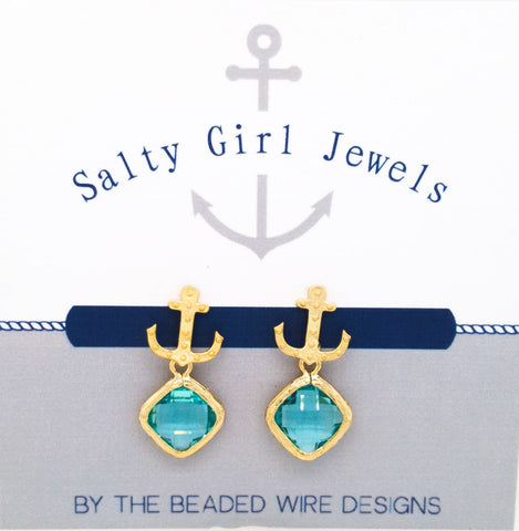 #SD45- Anchor Drop Studs- Aqua Gold