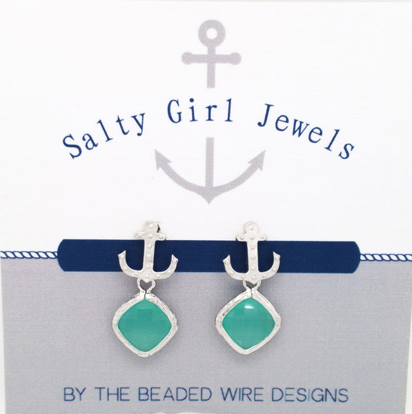 #SD54- Anchor Drop Studs- Mint Silver