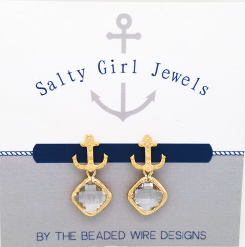 #SD44- Anchor Drop Studs- Clear Gold