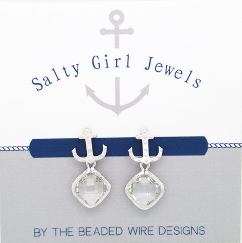 #SD57- Anchor Drop Studs- Clear Silver
