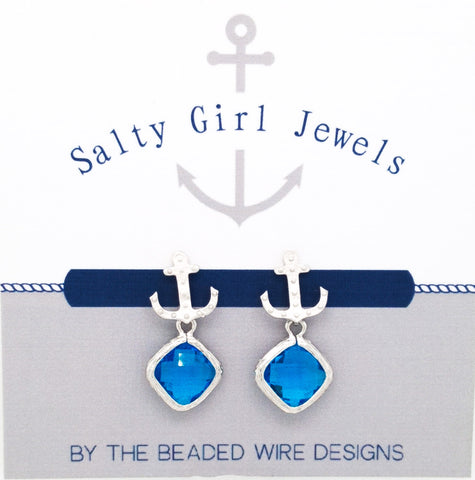 #SD56- Anchor Drop Studs- Capri Silver
