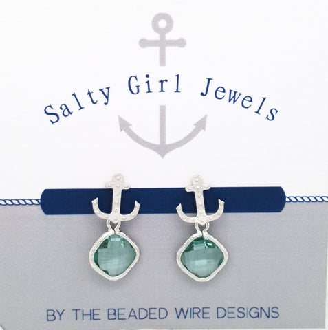 #SD5- Anchor Drop Studs- Erinite Silver