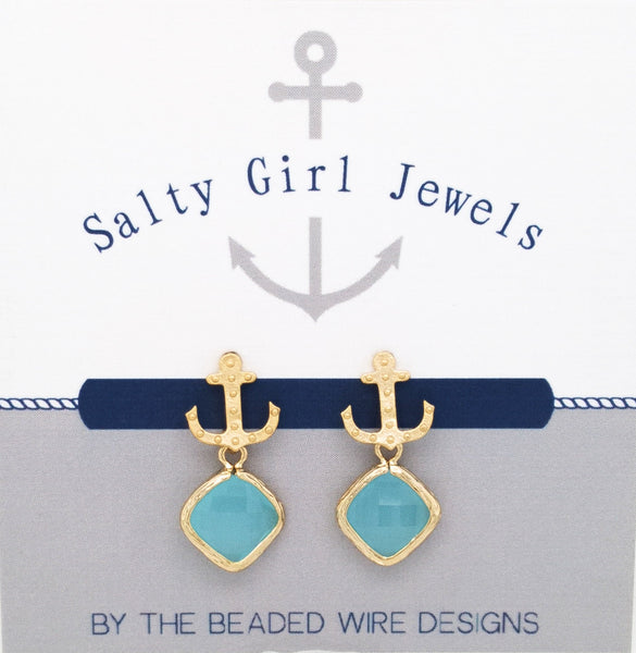 #SD4- Anchor Drop Studs- Ocean Gold
