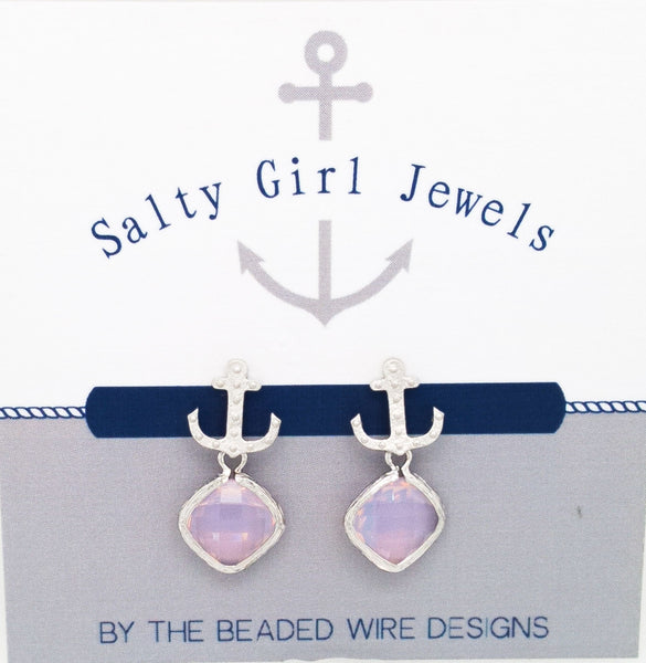 #SD52- Anchor Drop Studs- Violet Opal Silver