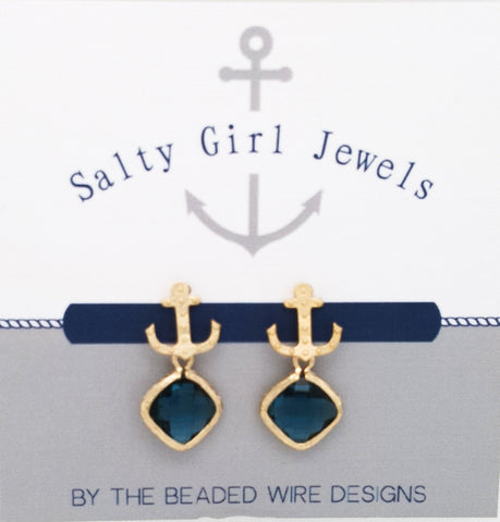 #SD46- Anchor Drop Studs- Navy Gold