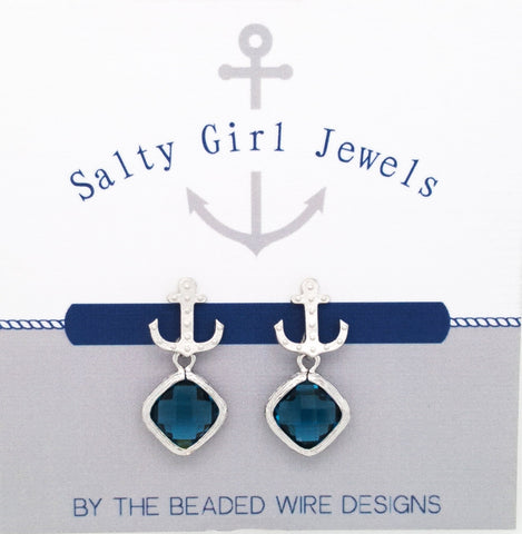 #SD58- Anchor Drop Studs- Navy Silver