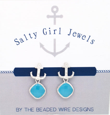 #SD51- Anchor Drop Studs- Ocean Silver