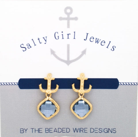#SD47- Anchor Drop Studs- Light Sapphire Gold