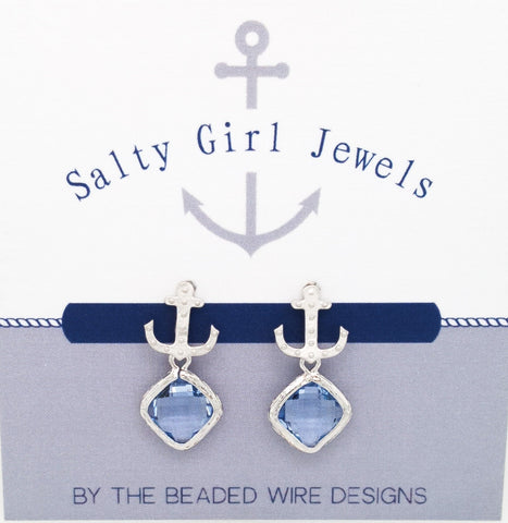 #SD55- Anchor Drop Studs- Light Sapphire Silver