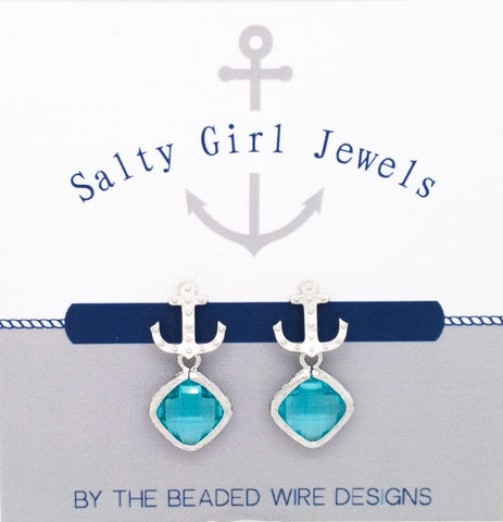 #SD53- Anchor Drop Studs- Aqua Silver