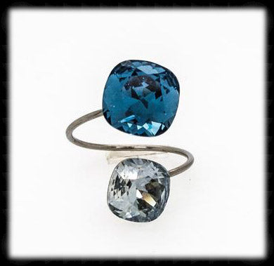 #R99995- Sparkling 2 Tone Ring- Denim Blue Shade