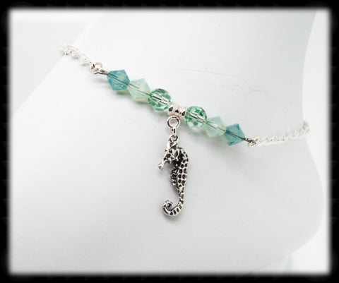 #ANK22- Sea Greens Sterling Anklet- Seahorse
