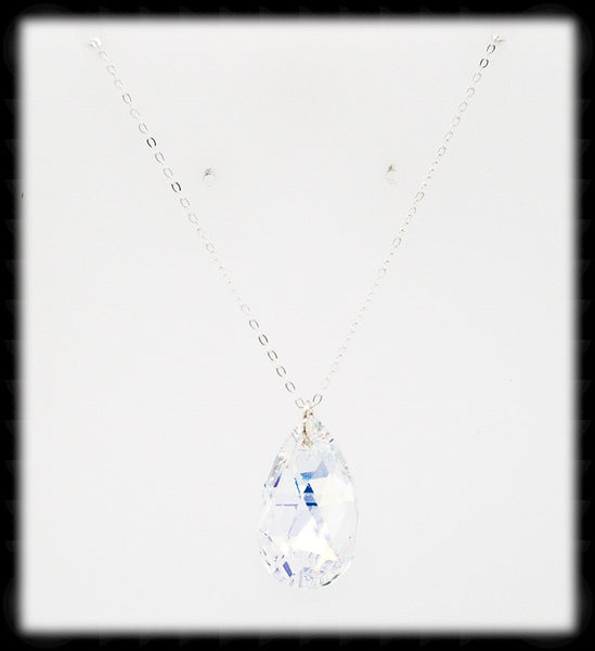 #CR20N-Princess Crystal Chain Necklace-Ab Silver