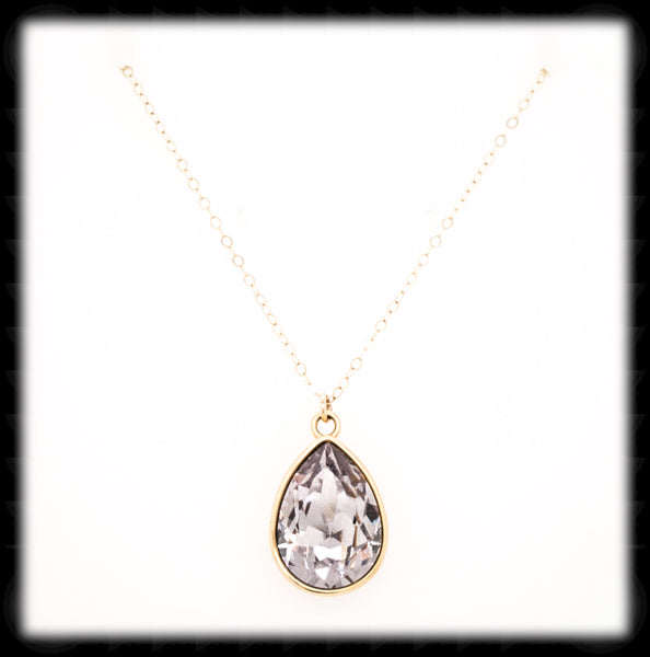 #BCDT167GN- Cushion Teardrop Necklace- Smokey Mauve Gold