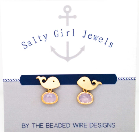 #SD701- Whale Drop Stud- Violet Opal Gold