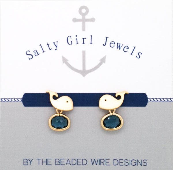 #SD7091- Whale Drop Stud- Navy Gold