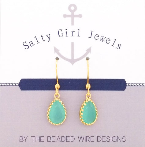 #SG012- Petite Filigree Drops- Mint Gold